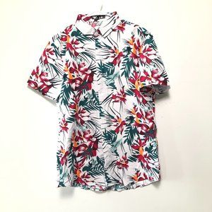 Shein Tropical Floral Button Down Shirt Size Large